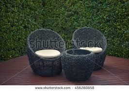 Rattan Patio Table And Chairs Rattan Garden Table Chairs Water Resistant Stock Photo 456280870