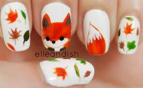 fox fall nail art designs with pink nail polish colors mauve