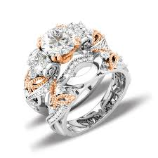 Vancaro Wedding Rings by Luxury Butterfly Wedding Ring Sets With Three Stone Rose Gold