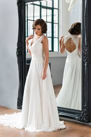 a line sleeveless keyhole back simple lace chiffon wedding dress