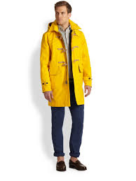 polo ralph lauren rlx toggle coat in yellow for men lyst