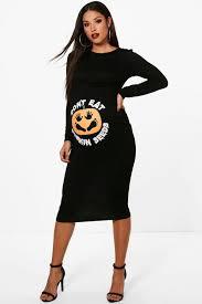 maternity pumpkin halloween bodycon dress boohoo