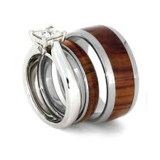 Wood Wedding Rings by Tulipwood Wedding Ring Set Moissanite Engagement Ring And Two
