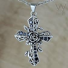 cross with rose necklace images The rose cross vy jewelry jpg
