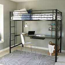 walker edison metal twin loft bed with computer workstation black