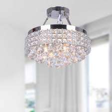 Chandeliers With Lamp Shades Jolie Iron Shade Crystal Flush Mount Chandelier Free Shipping