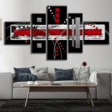 aliexpress com buy 5pcs unframed abstract oil painting red black