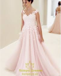 gown wedding dresses uk blush pink lace embellished gown wedding dress with cap sleeves
