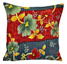 vintage kantha quilted throw pillows vintage kantha pillows
