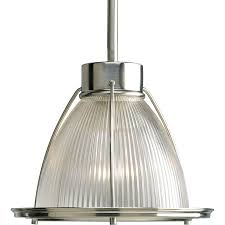 glass bell pendant light shop progress lighting prismatic glass 9 in brushed nickel mini