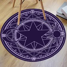Round Bathroom Rugs Blue Violet Crystal Velvet Fabric Magic Circle Round Bathroom Rug