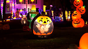 halloween jack o lantern ghost display stock video footage