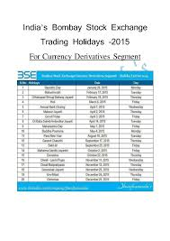 Market Holidays India Bombay Stock Exchange Trading Holidays For 2015