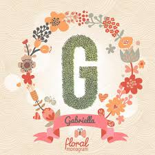 monogram websites stylish floral letter g stock vector smilewithjul 75030865