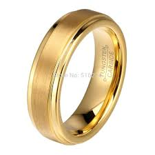 Tungsten Comfort Fit Wedding Bands Aliexpress Com Buy Dropshipping 6mm Gold Color Tungsten Carbide