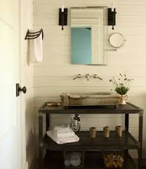Industrial Style Bathroom Vanity by Round Bathroom Mirror And Industrial Lighting Beach House