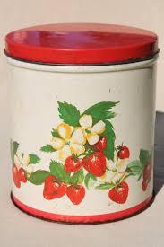 vintage cookie jar tin red strawberry print metal kitchen counter