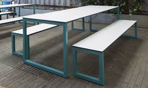 Steel Patio Furniture Sets by Contemporary Bench And Table Set Steel Outdoor For Public