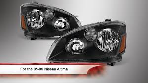 nissan altima oem parts 05 06 nissan altima oem style black bezel headlights youtube