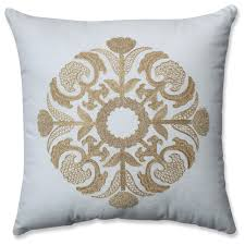 medallion gold white 17 5 throw pillow transitional