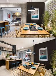 concrete wood tiles and black accents are all combined in this