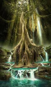 majestic tree with door between its roots doors and and