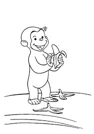 monkey baby littering banana fruit peel coloring