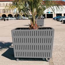 contemporary architecture characteristics steel planter square contemporary for public spaces