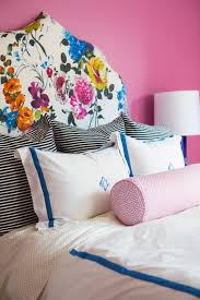 Girls Bedroom Kelly Green Carpet Girls Bedroom Pink Walls Floral Headboard Black White Stripes