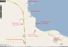 Doha Map French Beach And Fuwairit Beach Cgk Doh