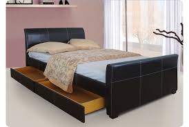 Black Leather Sleigh Bed Venetian Storage King Bed Black