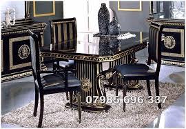 italian extendable dining table versace design rossella italian extendable dining table and 6 chairs