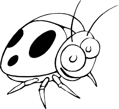 ladybug 17 black white line art flower scalable vector graphics