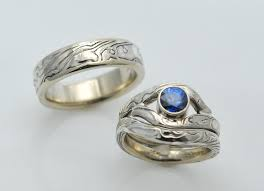 three ring wedding set crafted three ring custom mokume gane wedding set with