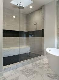 sleek cream marble bathroom floor tile paired with two tone balck