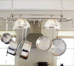kitchen pot racks with lights pot rack with lights contemporary kitchen lighting decoration