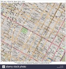 Usa Map New York City by 5th Ave 42nd St New York Usa Area City Map Aerial View Stock