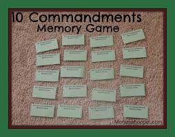 10 commandments and their meaning memory card game mommahopper