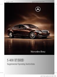 mercedes benz s450 hybrid 2010 w221 owner u0027s manual