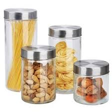 glass canisters kitchen home basics 4 glass canisters with
