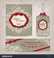 set vintage christmas greeting card label stock vector 160463780