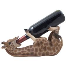 giraffe wine bottle holder statue in