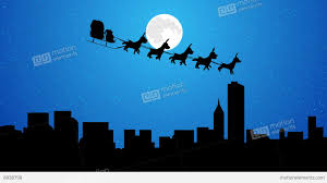 different christmas flying santa sleigh reindeer animation