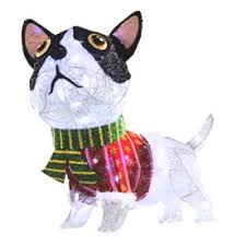 lighted dog christmas lawn ornament holiday living dog outdoor christmas decoration available at lowes