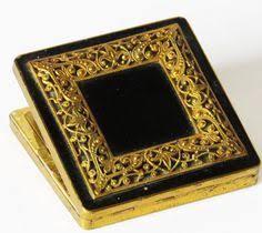 Compact Vanities Stunning Vintage Brass And Enamel Vogue Vanities Powder Compact