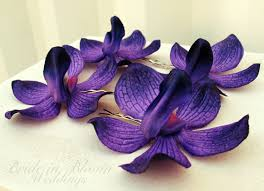 purple orchid flower wedding hair accessories royal purple orchid bobby pins