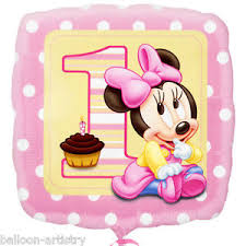 1st birthday girl 18 disney baby minnie mouse happy 1st birthday girl party square