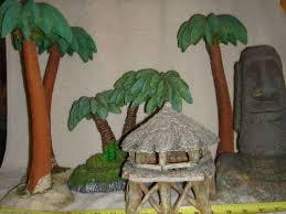 ornaments set of xl aquarium decorations tropical palm trees hut