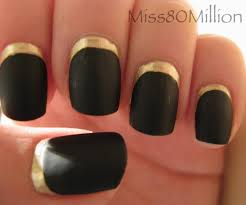 black nails with silver reverse french tip nail design idea
