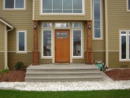 exterior foxy front porch decoration using square white wood brown